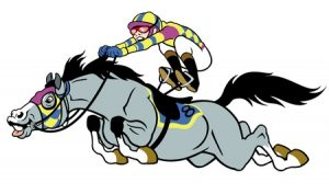 17348869 - derby,equestrian sport,racing horse with jockey,cartoon picture isolated on white background,vector illustration